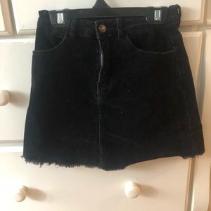 John Galt Black Corduroy Skirt